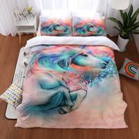 ingrosso biancheria da letto-Lai Yin Sun New 3D Horse Copripiumino stampato Set 2/3 pezzi Double Queen King Bedclothes Biancheria da letto Set biancheria da letto Sport Boy Gife