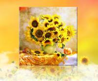 vaso de pintura de flores venda por atacado-5d diy diamante bordado 5d pintura diamante diamantes mosaico flor vaso de girassol cheio de strass ponto cruz decoração de natal