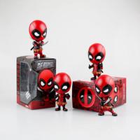 ingrosso bobble testa bambole-Deadpool Spider-man Marvel Movie Bobble Head Agitazione in PVC Action Figure Collection Modello Kids Doll Toy Gifts