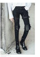 ingrosso patch dei ragazzi dei pantaloni-Jeans strappati patch uomo in pelle slim fit denim denim angosciato Jeans skinny jeans night club DJ punk hip hop nero jogger jeans