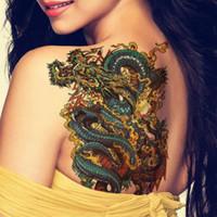 gefälschte drachentätowierungen großhandel-3 Stücke Wasserdicht Temporäre Tätowierung Aufkleber Männer Arm Bein Metallic Tattoos 3D Gefälschte Überführung Tattoo Dragon Lion Cool Flash Tatuajes