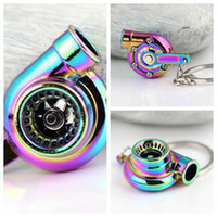 Wholesale car parts for sale - Rainbow Color Turbo Keychain Auto Parts Model Spinning Charming Turbocharger Key Chain Ring Keyring GGA473