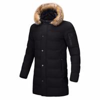Wholesale puffer jacket men - Windproof Jacket Coat Long Men Coat Winter Jacket Fur Puffer Quilted Winter Warm Cotton Parka Mens Men