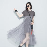 net elbiseler toptan satış-LANMREM 2018 yaz yeni moda dikiş net iplik perspektif katı renk O-kısa kollu gevşek elbise kadın toptan 3361 Y1890703