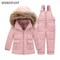 Wholesale winter down baby jumpsuits - 2pc Children clothes Winter Down Jacket Baby Warm Outerwear Coats Girls Set Coat Kids Ski Suit Jumpsuit For Boys Baby Overalls