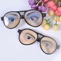 erkekler komik gözlükler toptan satış-Komik Gözlük Çocuk Oyuncak Hediye Cadılar Bayramı Makyaj Topu Nisan Aptallar Gün Hüner Gözlükler Erkek Kadın Plastik 1 4cs V