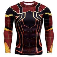 ingrosso camicie uomo in ferro-Black Panther Spiderman 3D T-shirt stampate Magliette a compressione da uomo Fumetti Top per Uomo Iron Man Costume Cosplay Abbigliamento