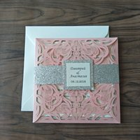 pink buckles NZ - Blush Pink Shimmy Laser Cut Wedding Invitations 2019 Luxurious Glitter Silver Dinner Invites with Tag and Envelope Free Shipping
