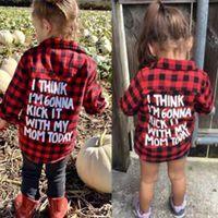 baby-outfit rot großhandel-2018 Frühling Baby Jungen Mädchen Langarmhemd Plaids Rot Schwarz Kariert Tops Bluse Baumwollkleidung Outfit 1-5Y Kinder Kinder Hemd