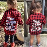 camisa negra para niña al por mayor-2018 Primavera Bebé Niños Niñas Camisa de manga larga A cuadros Rojo Negro Cheques Tops Blusa Ropa de algodón Traje 1-5Y Niños camiseta