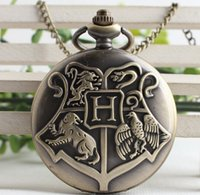 Wholesale golden chain watches - Steampunk Harry Hogwarts School of Witchcraft and Wizardry Potter Golden Snitch Quartz Fob Pocket Watch Sweater Necklace Chain