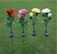ingrosso fiori di giardino solare potenza-Solar Rose Flower Lights Solar Powered Garden Outdoor Decorative Landscape LED luce di palo per tutto l'anno Lampada impermeabile per Patio Backyard