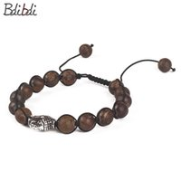 загадки головы будды оптовых-Balibali Fashion Adjustable Handmade Retro Braided Bracelets for Women Natural Stone  Buddha Head Charms Beaded Bracelets