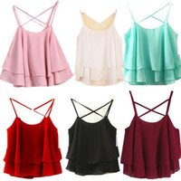 Wholesale Shorts Tank - Camis Lotus Leaf Tanks Women Chiffon Summer Casual Condole Belt Blouse Tees Sleeveless Shirt Blouse Casual Tank Tops KKA3906