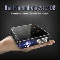 ingrosso teatro home android-Proiettore LED C9 Plus Mini DLP con Android 7.1 RK3328 Quad Core 2.4G / 5G Proiettore tascabile Dual Bluetooth Bluetooth 4.0 150ANSI 4K Home Theater