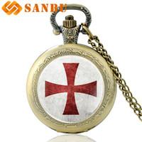 Wholesale cross watches woman resale online - New Arrivals Bronze Cross Quartz Pocket Watch Retro Men Women Knight Necklace Pendant
