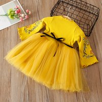 Wholesale Girl Knitting Fashion Dress Kids Princess Party Embroidered Floral Dresses Cute Clothes Birthday Gift Autumn Spring Years