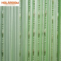 Wholesale modern homes interiors - 12 color Beads line curtain Modern Yarn Dyed Curtains for Home Living room door Hotel Cafe interior decoration Solid Curtain