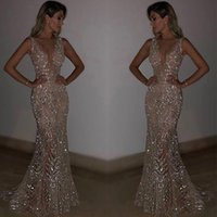 Wholesale occasion dress online - Bling Sequined Sequins Mermaid Evening Dresses Deep V Neck Sexy Long Prom Gowns Special Occasion Gowns