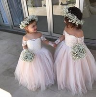 Wholesale Classy Girls - Classy Lace Ball Gown Flower Girl Dresses For Weddings With Long Sleeves Off The Shoulder Toddler Pageant Gowns Tulle Floor Length Kid Dress