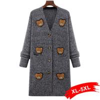 Wholesale Korean Women Xs Wool Coat - Plus Size Long Cardigan Sweater Coat 4Xl 5Xl Women Korean Sweaters Autumn 2017 Tricot Marled Knitwear Patch With Pockets