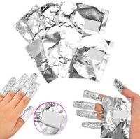 unhas de acrílico venda por atacado-100 pçs / lote Folha de Alumínio Nail Art Gel Acrílico Polonês Removedor de Unhas Wraps Removedor de Maquiagem Ferramenta Prego Cuidados CCA10013 200 conjunto