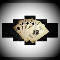 pinturas a óleo do dia das bruxas venda por atacado-5 Painel de Poker Padrão Pintura Da Lona Sala de estar Decoração de Casa de Poker HD Picture Painting sem Framed Print Poster