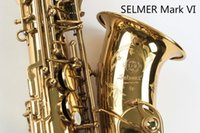Wholesale Saxophone Selmer - SELMER Mark VI High Quality Alto Eb Saxophone Professional Musical Instrument Brass Gold Plated Sax Pearl Buttons With Case, Accessories