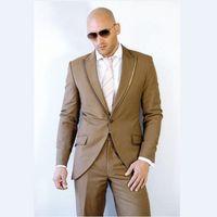 Wholesale Grey Bespoke Tuxedo - NoEnName_Null 2017 Fashion Slim Fit Men Suit Notch Lapel Latest Coat Pant Design Brown Mens Suits Bespoke Wedding Men Tuxedos