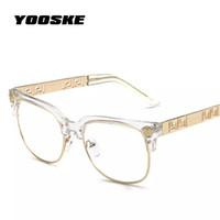 brillenfassungen für frauen großhandel-YOOSKE Fashion Clear Sonnenbrille Frauen Männer Optik Brillen Rahmen Vintage Plain Glas Brillen Frauen Markendesigner