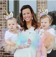taç takma toptan satış-Toddler Unicorn Çiçekler Kafa Doğum Günü Partisi Saç Yaylar Hediyeler Taç Saç Bantları Şapkalar Glitter Elastik Tiara Çocuk Kız Saç Aksesuarları