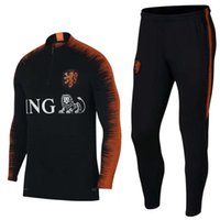 Wholesale polyester sports jacket - 2018 Netherlands soccer Jacket Tracksuit 18 19 chandal Netherlands training suits ROBBEN MEMPHIS PERSIE Soccer Jersey training sports wear