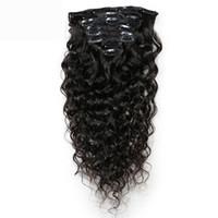 dalgalı ürünler toptan satış-Sloveny Rosa Ürün Su Dalga Klip İnsan Saç Uzantıları 100% Moğol Remy Saç 8 Parça Ve 120 g / takım Doğal Renk