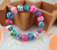 steinlehm großhandel-Das neue Angebot Mode Polymer Clay Beads Lava Stein Armbänder Freies Verschiffen, Großhandel 20 stücke Böhmische Perlen Armbänder, Kinder Geschenk Braclet