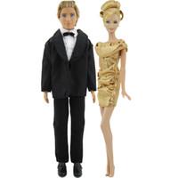 Wholesale months dresses for wedding resale online - 2 Sets x Elegant Golden Dress Wedding Evening Party Skirt x Men Black Formal Suit Clothes For Ken Doll Accessories