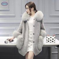 fleece parka frauen großhandel-NFIVE Marke 2018 Frauen Fleece Slim Parkas koreanische Winter neue Langarm Cashmere Kragen Tasche Button warme künstliche Pelzmantel