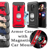 Wholesale Thin Magnetic Case Iphone - For iphone X 8 7 plus Car Stand Magnetic Suction Bracket Case For Samsung Galaxy S9 S9 plus Ultra Thin Soft TPU Cover
