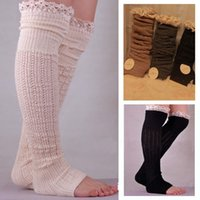 örme çizme çorapları toptan satış-Diz Örgü Dantel Çorap Boot Çorap gevşek Çorap Çorap Bacak Isıtıcıları Sonbahar Kış Kadınlar için Chritsmas Hediye Drop Shipping