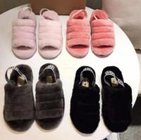 kirazı modası toptan satış-Ücretsiz kargo Moda patlama modelleri düz düz yün terlik ile yeni bebek kürklü izlenim kiraz tozu evet serin kar botları