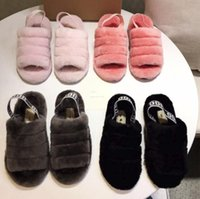 Wholesale furry heels resale online - Fashion explosion models new baby with flat flat wool slippers furry impression cherry powder yeah cool snow boots