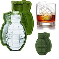 Wholesale Green Party Drinks - New Fashion 3D Grenade Shape Ice Cube Mold Ice Cream Maker Party Drinks Silicone Trays Molds Kitchen Bar Tools Top Quality