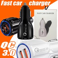 Wholesale Lg Usb Phone Charger - For Samsung Galaxy Note 8 S8 Plus Iphone QC3.0 fast charge 3.1A Qualcomm Quick Charge car charger Dual USB phone charger