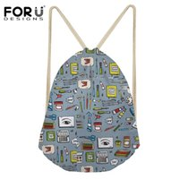 Wholesale fine arts schools - FORUDESIGNS Cool Fine Art Design Drawstring Bag Girls School Children Fashion Lightweight Backpack Daily Use Function Bagpack