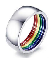 anillo de tamaño usa al por mayor-Anillo de boda Acero inoxidable 316L Arco iris Rayado de goma Gay Lesbian Band Anillo tamaño 7-12 Venta caliente en EE. UU.