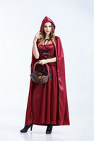 Wholesale red riding hood woman costume online - New Halloween Christmas Cosplay Evil Little Red Riding Hood Costume Long Princess Princess Dress