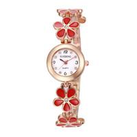 relógio de quartzo flor das senhoras venda por atacado-Mulheres se vestem relógio moda mulheres coloridas liga de metal ameixa flor flor pulseira de relógio 2018 senhoras vestido de quartzo relógios de festa de diamantes