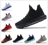 Wholesale Kd Low Tops - 2017 KD 10 Triple Black Basketball Shoes Top Quality FMVP Kevin Durant Signature Sport Sneakers Free Shipping&With Box 14 Color