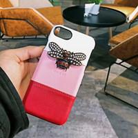 iphone rhinestone чехол для мобильного телефона оптовых-Роскошный Vogue телефон случае смешанные цвета Дизайн для IPhone X 8 7 6 плюс Bling горный хрусталь известный Bee мобильный телефон обратно защитить крышку