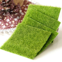 ingrosso erbe bonsai-Erba artificiale prato 15 * 15 cm fata giardino in miniatura prato muschio terrario arredamento resina artigianato bonsai home decor per fai da te Zakka