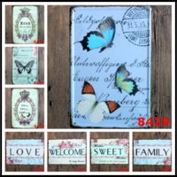 Wholesale butterfly folk art online - 11 quot x7 quot Butterfly Retro Metal Signs Tin Painting Home Decor Posters Crafts Supplies Wall Art Pictures Wall Decor